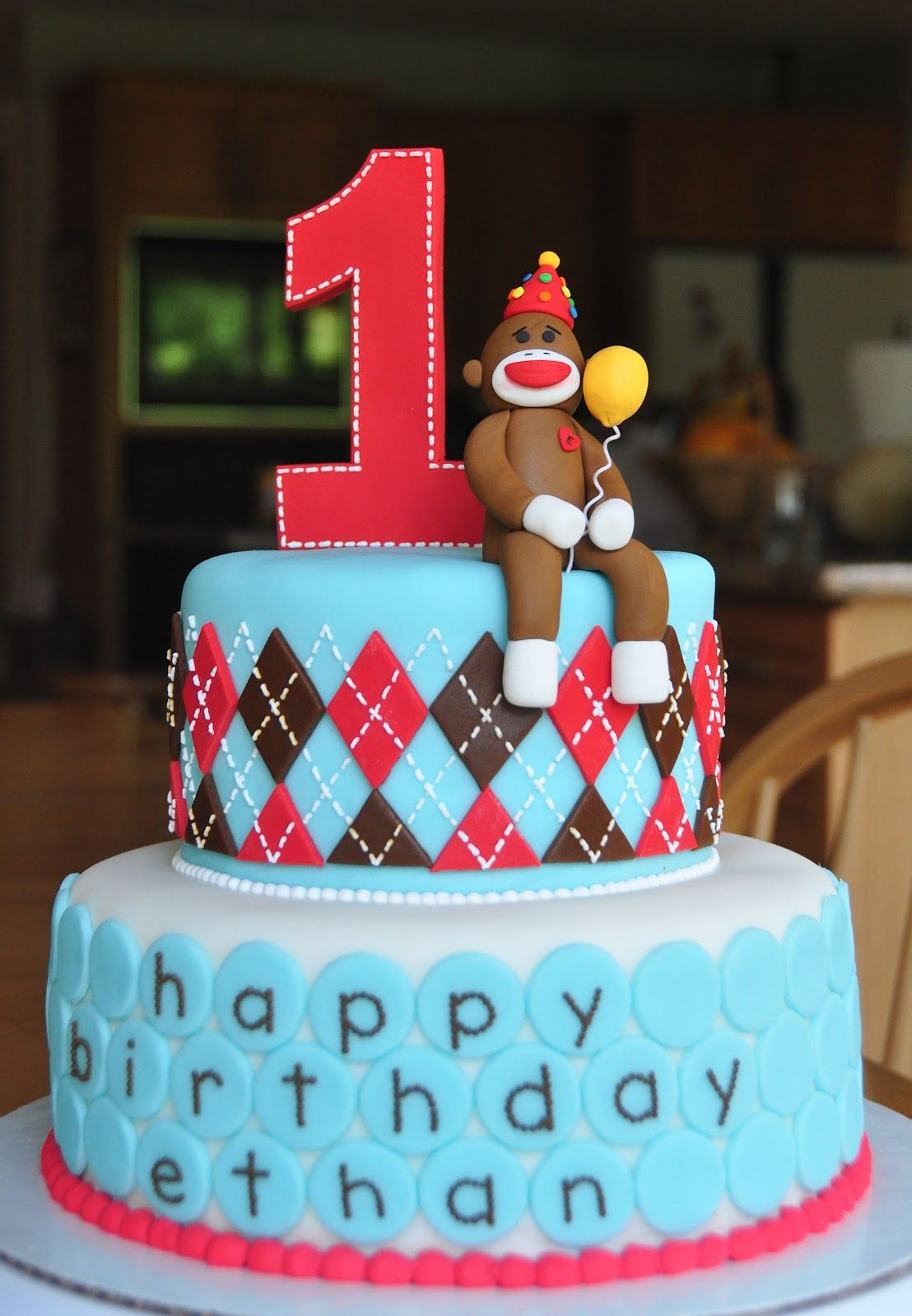sock monkey 1st birthday cake 20120616 Cakes Pinterest