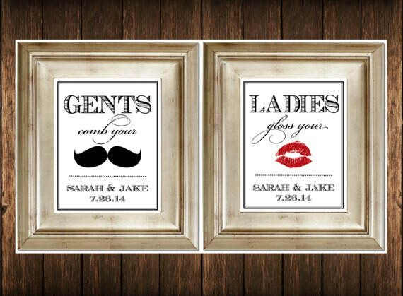 Items similar to Set of 2 Bathroom Signs - Customized Ladies & Gents Wedding  Restroom Signs Photobooth Mustache Lips on Etsy