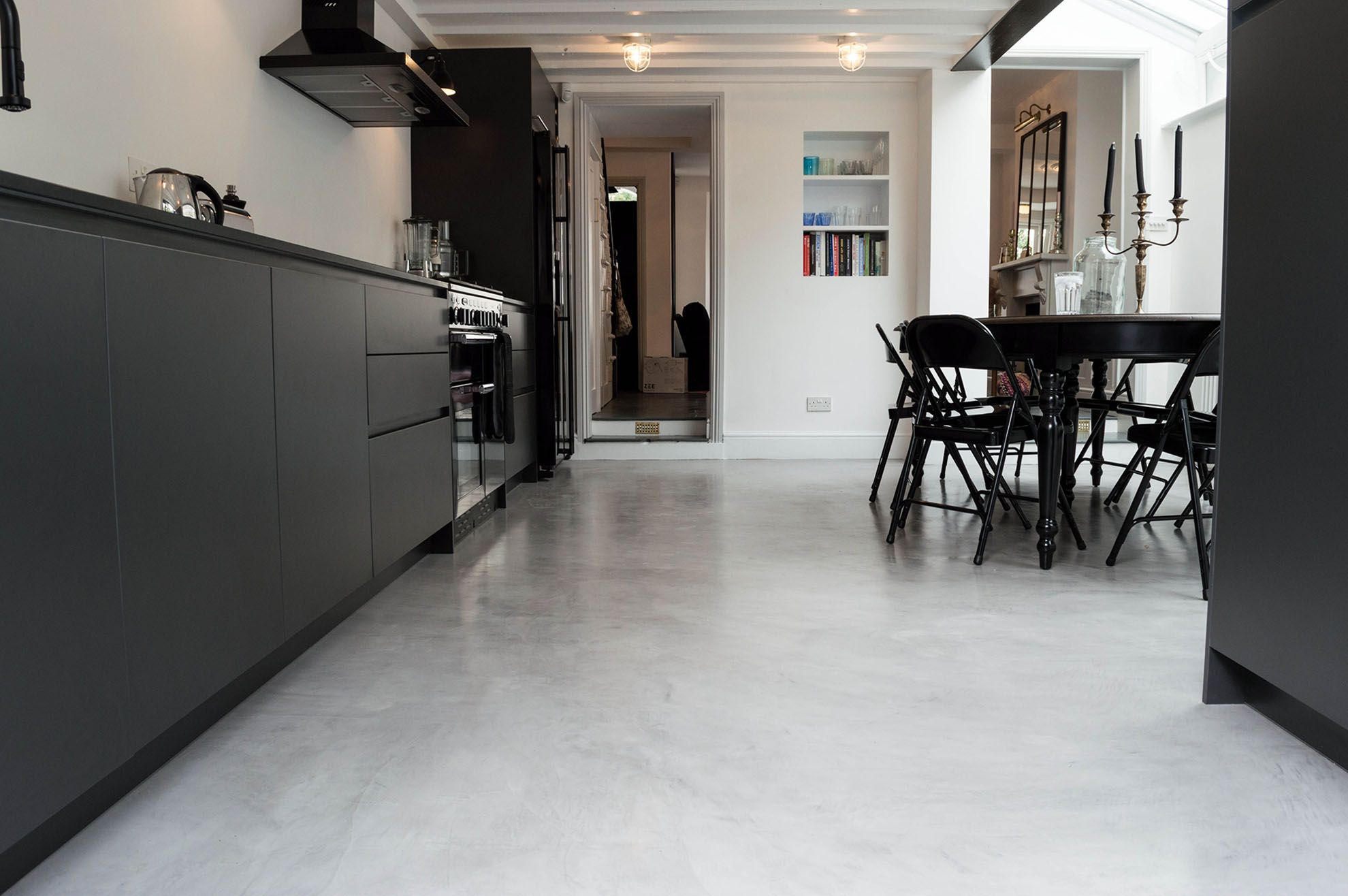 Micro Cement Redefining The Floor With Finish And Decor Polished Concrete Flooring Residential Flooring Concrete Kitchen