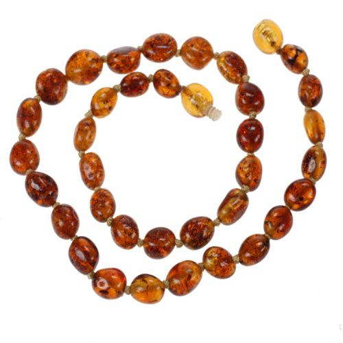 Genuine Baltic Amber Teething Necklace for Baby - Cognac Olive-shape Beads - List price: $26.45 Price: $18.95 Saving: $7.50 (28%) + Free Shipping