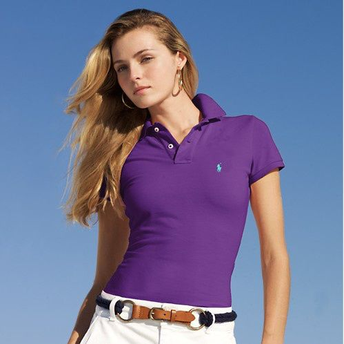 ralph lauren outlet store Women\u0027s Classic-Fit Short Sleeve Polo Shirt Tie  Purple http: