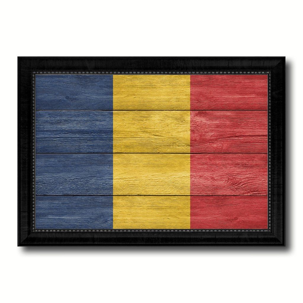 Romania Country Flag Texture Canvas Print with Black Picture Frame ...