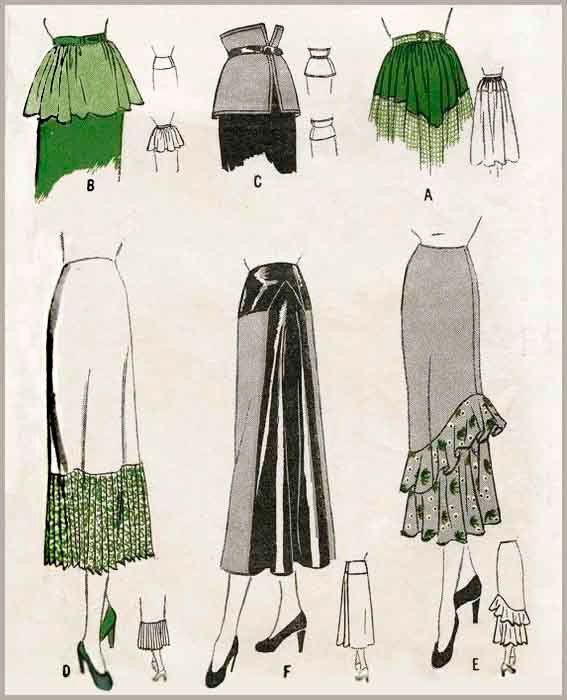 1940er Jahre 40er Jahre Vintage Rock Damen Schnittmuster Joche ...
