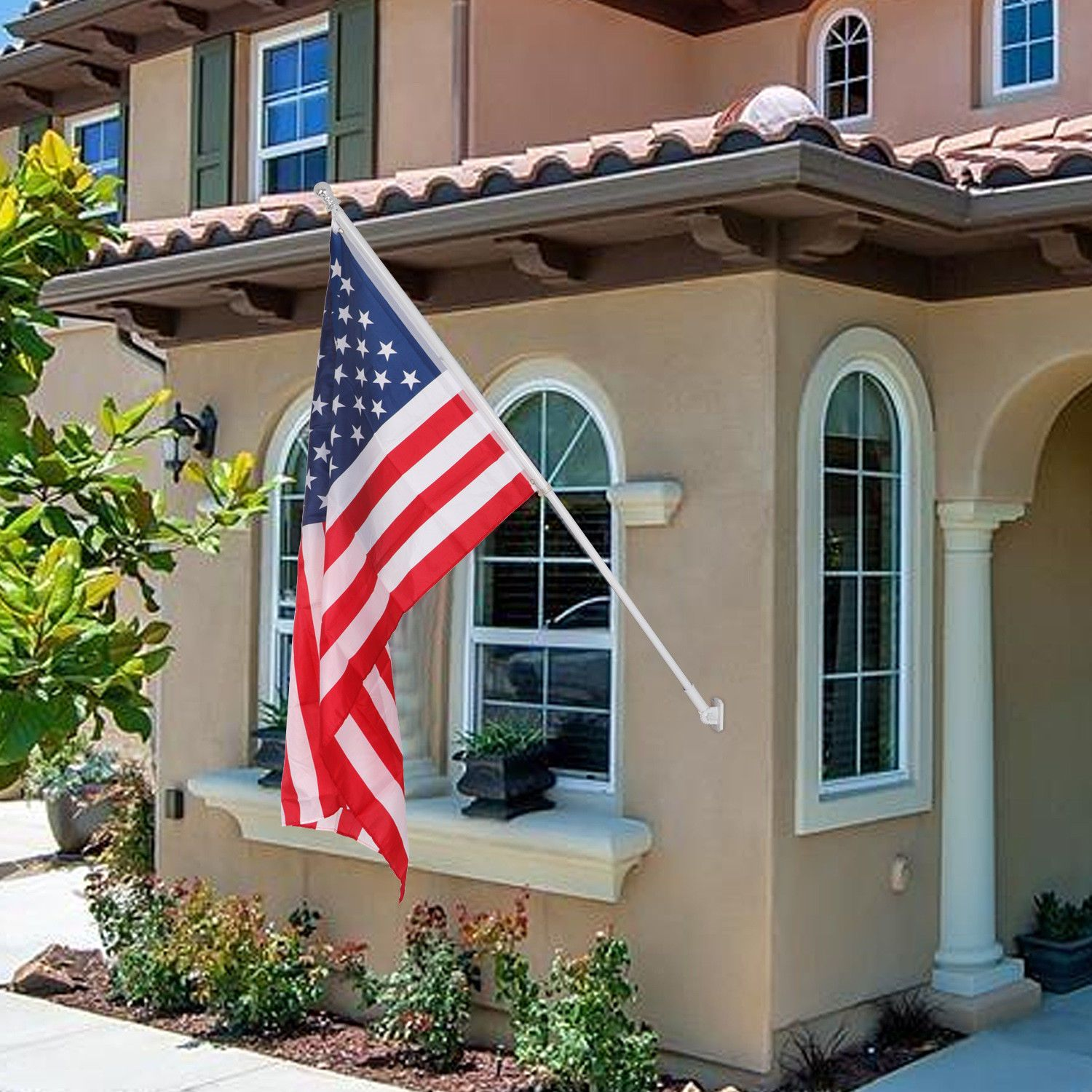 Heavy Duty 6ft Flag Pole Tangle Free Outdoor Yard Residential W American Flag Flag Pole Home And Garden Flag
