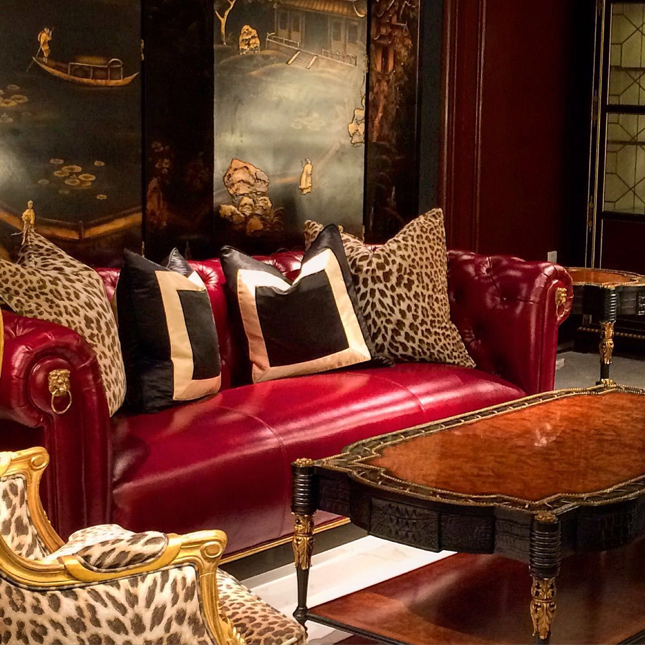 cushion ideas for red leather sofa sure fit stretch pique three piece slipcover alissa sutton interiors chesterfield tufted