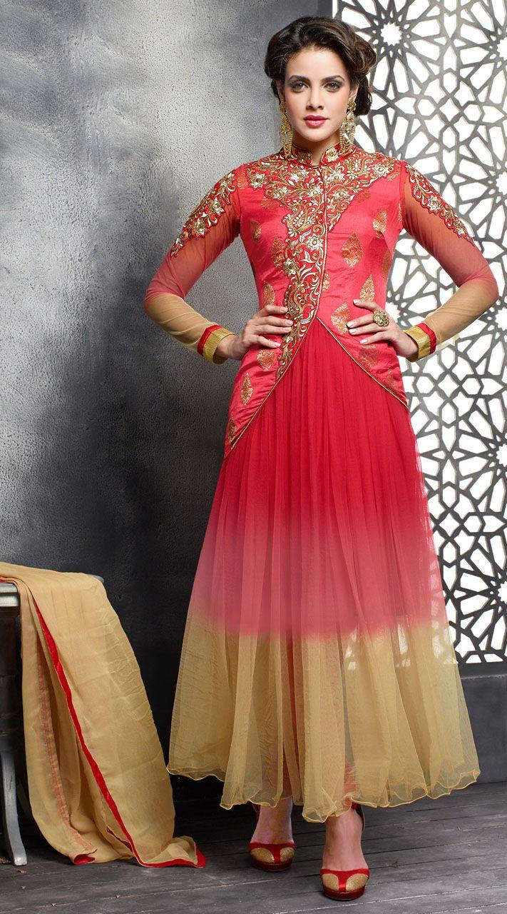 Designer salwar kameez mesmeric peach color net designer suit - Find This Pin And More On Designer Anarkali Suits Red Enchanting Embroidered Net Salwar