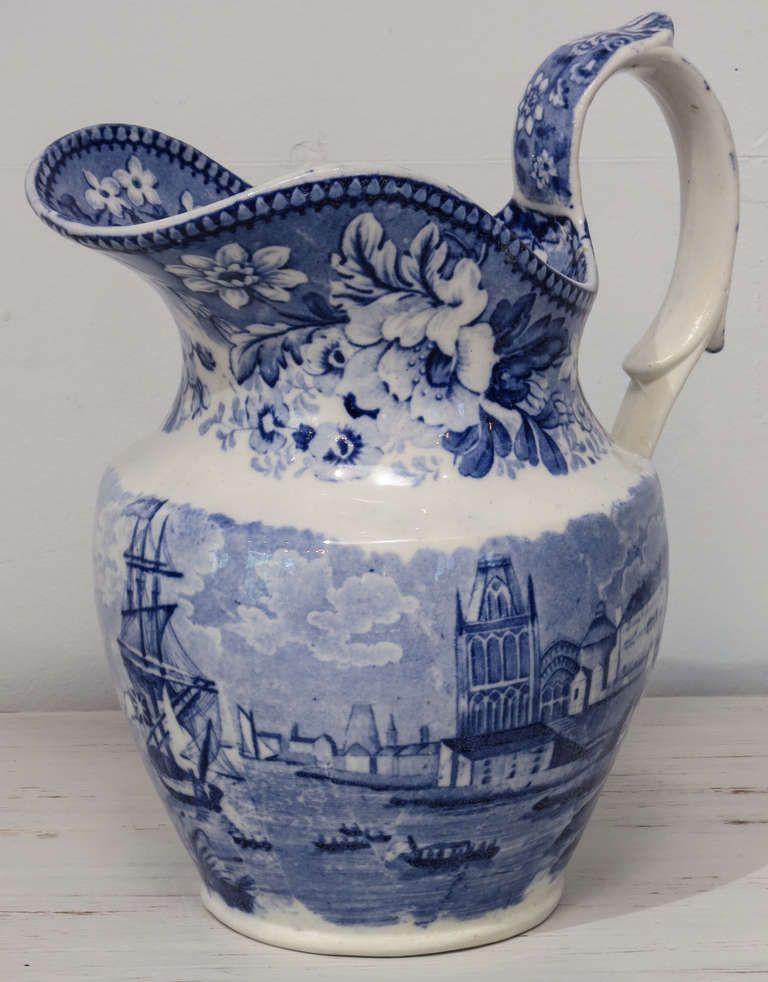 blue and white transferware pitcher bristol pattern ca 1823 geschirr porzelan und blau. Black Bedroom Furniture Sets. Home Design Ideas