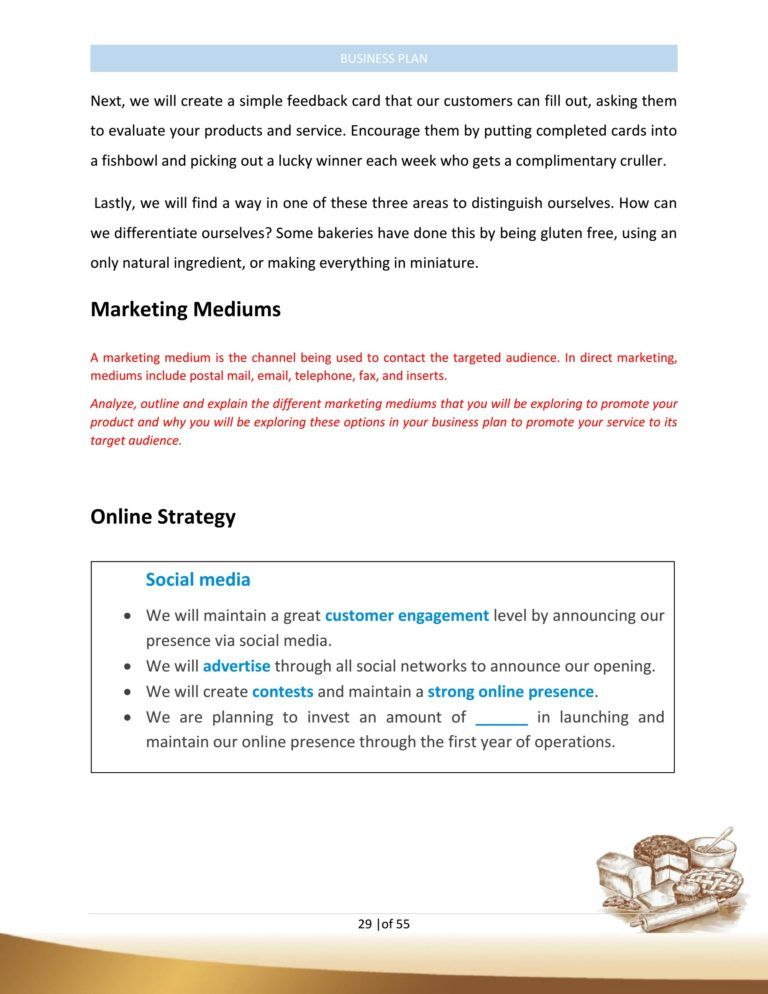 Bakery Business Plan Template Sample Pages Business plan