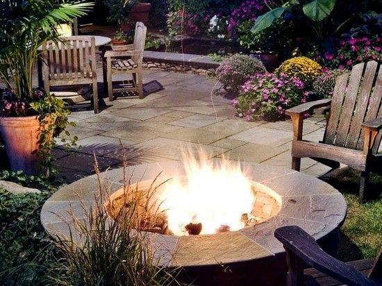 Feuerstelle Garten Rund : Steinrand rund feuerstelle designs garten terrasse bodenbelag
