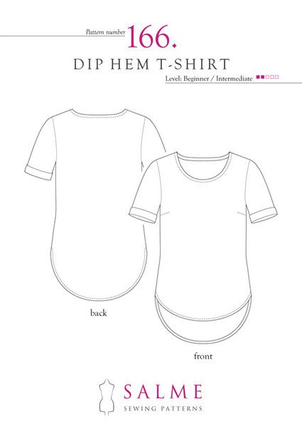 Sewing Pattern For T Shirt With Rounded Dip Hem And Roll Up Cuffs
