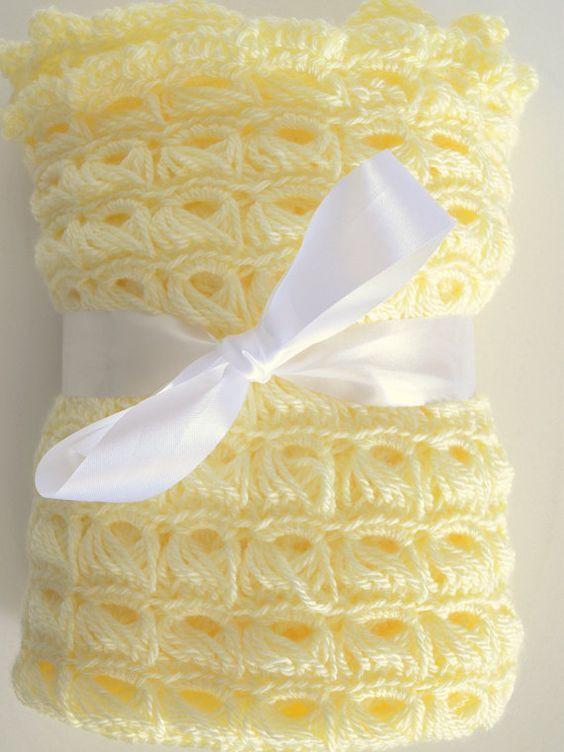 b743ae846b paleyellow.quenalbertini  Soft Yellow Hand Crocheted Baby Blanket ...