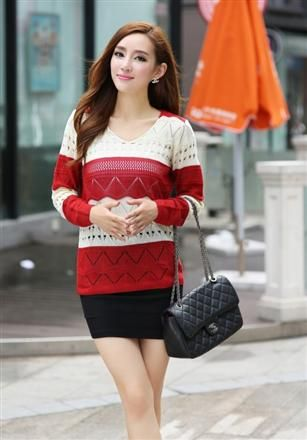 Women Fashion Match Color Wild Knitting Shirt
