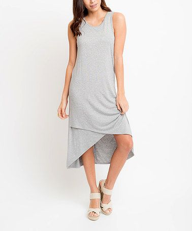Look what I found on #zulily! Heather Grey Keyhole-Back Tulip-Hem Midi Dress #zulilyfinds