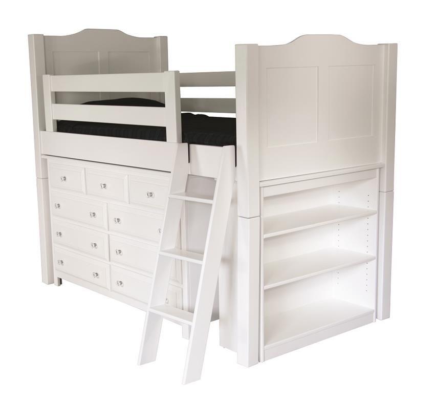 Amish Sweet Dreams Storage Loft Bed Low Loft Beds White Loft
