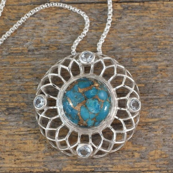 NOVICA Silver Necklace with Blue Topaz and Composite Turquoise ($54) ❤ liked on Polyvore featuring jewelry, necklaces, blue, pendant, turquoise necklace, blue silver necklace, blue pendant, turquoise silver necklace and blue turquoise necklace