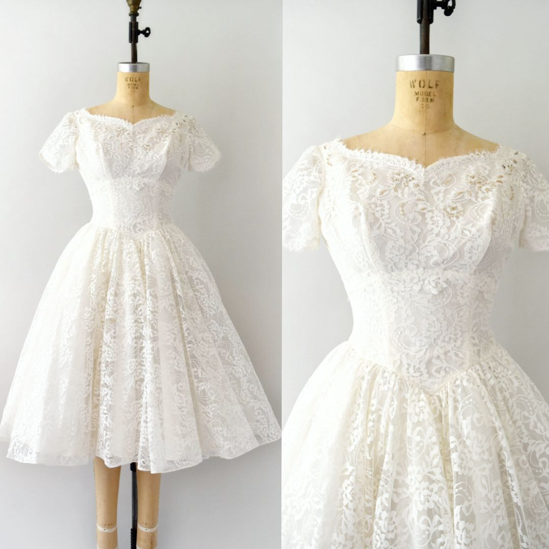 Tis the season this s short off white lace wedding dress is
