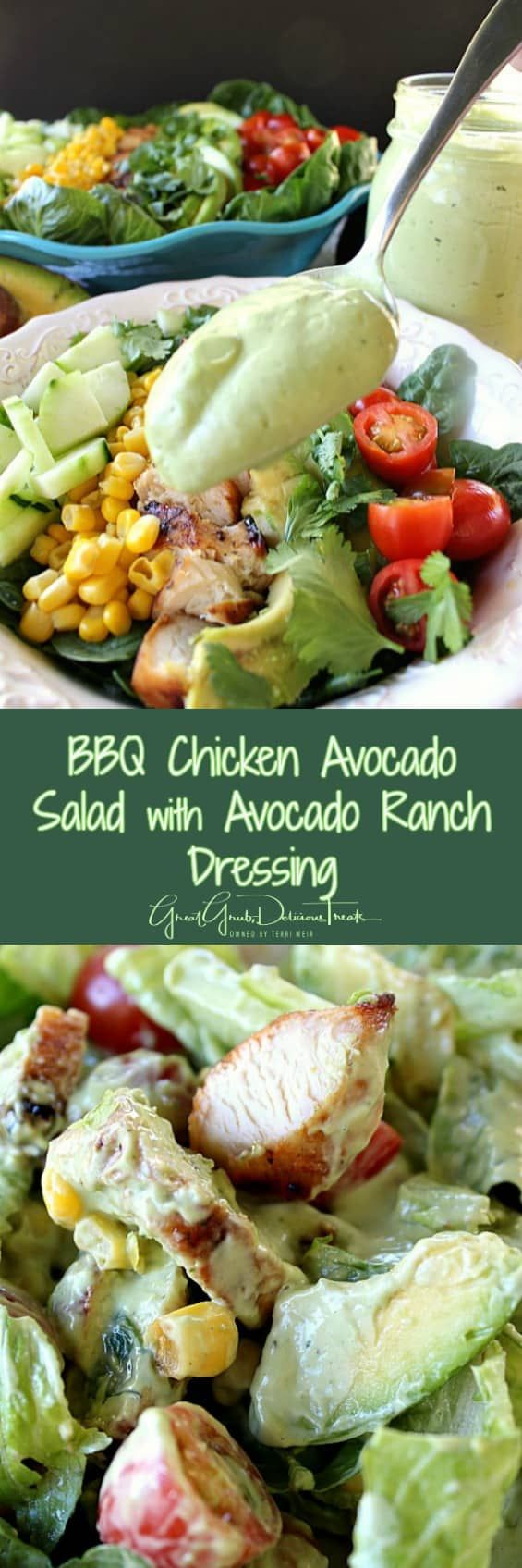 BBQ Chicken Avocado Salad with Avocado Ranch Dressing - Great Grub, Delicious Treats