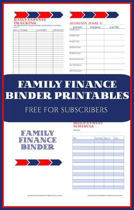 Free Family Finance Binder Printables For Your Family Budget And