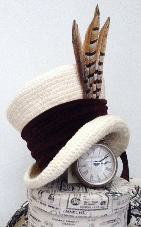 Cream Brown Victorian Steampunk Mad Hatter Hat Häkeln Crochet
