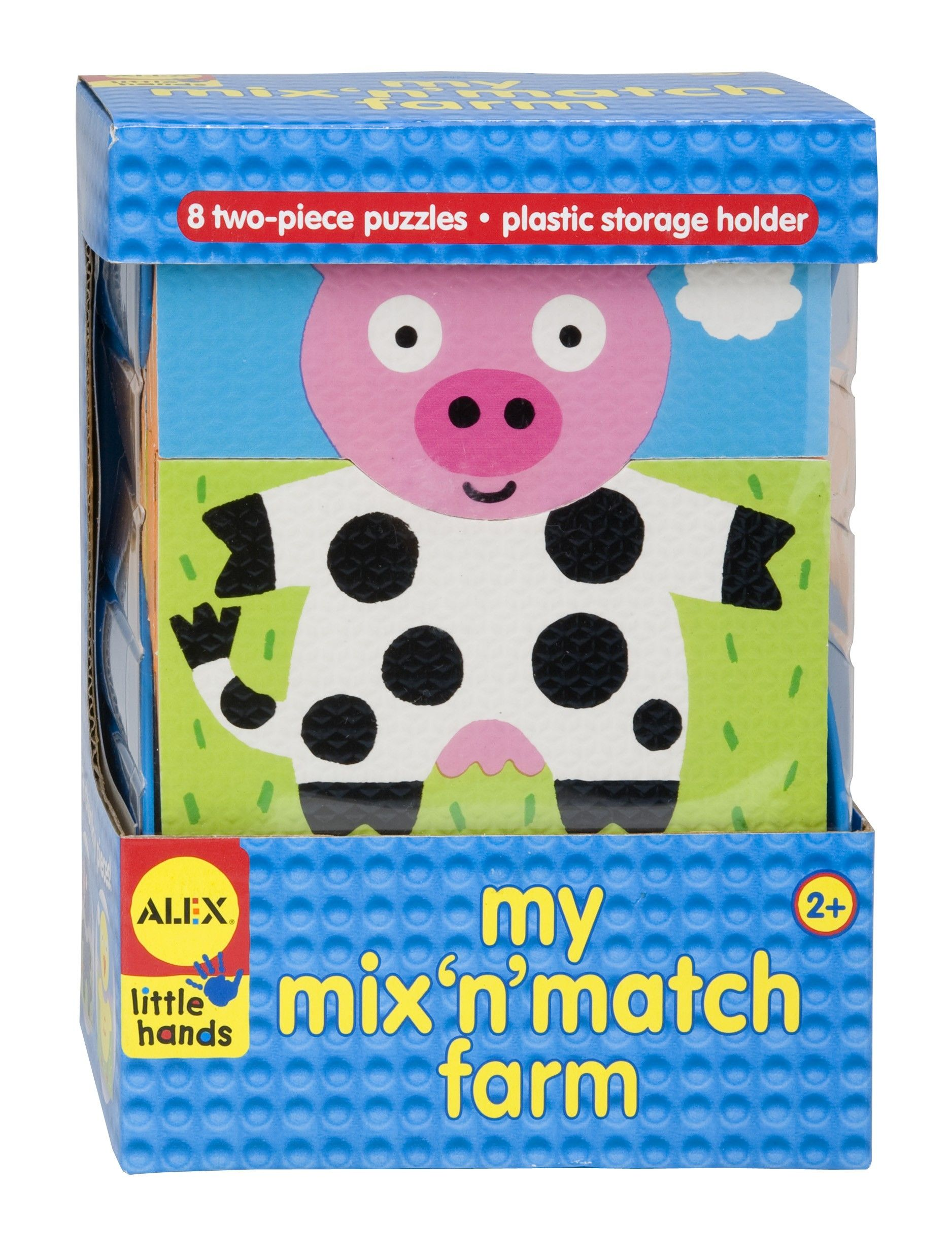 They are very cute and adorable farm animals shapes which has two separate parts and allows your child to match them to form a complete shape of one single animal. The Alex Toys Little Hands My Mix N Match Farm is very good to exercise your baby's wit and presence of mind. By being able to solve this puzzles your baby will learn about logical matching of things around him. She/ he will also have a lot of fun through this process.