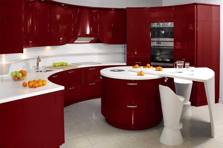 Modern Kitchen Red elegant kitchen decorations in hot red color : admirale red