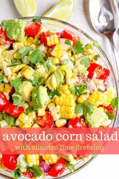 This avocado corn salad is an easy and healthy summer recipe made with avocado corn tomato lime juice and fresh cilantro. Pairs well with fish grilled chicken or steak! So delish! Care Products Cream Mask Scrub Scrub Treatment Concern
