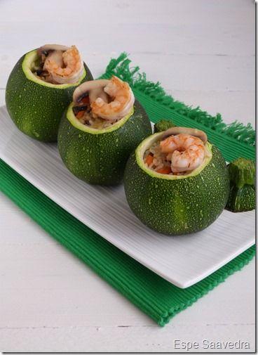 Receta de Calabacines rellenos de arroz y langostinos por Espe Saavedra
