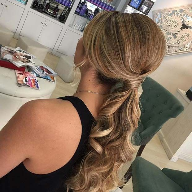 21 Beautiful Hair Style Ideas for Prom Night | Prom hairstyles for long hair, Elegant ponytail ...
