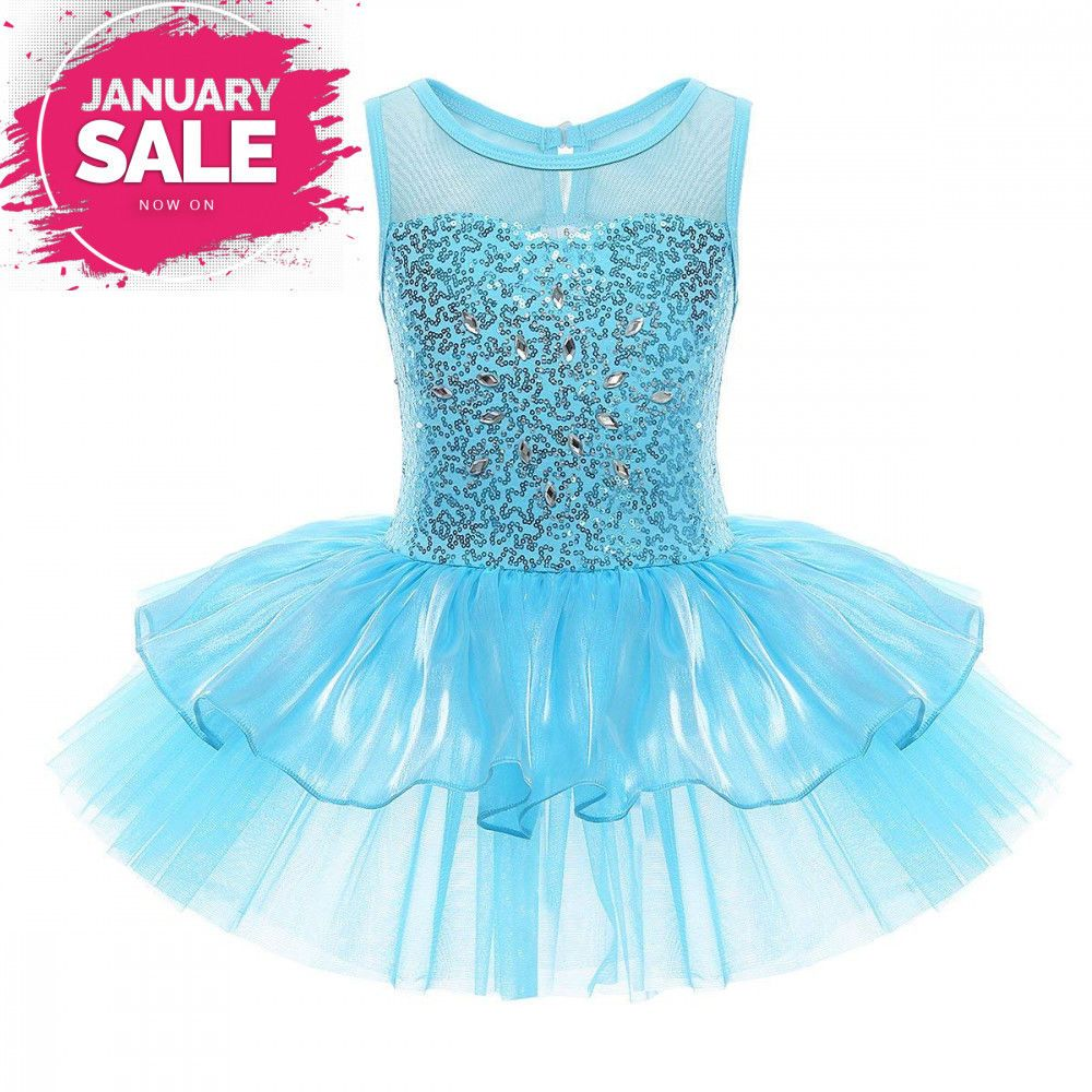 Kids Girls Ballet Dance Tutu Dress Gym Lyrical Leotard Skirt Skating Dancewear