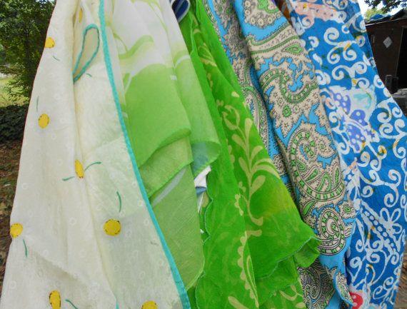 Vintage Designer Scarfs in blues and greens Lot by TearDropCurio