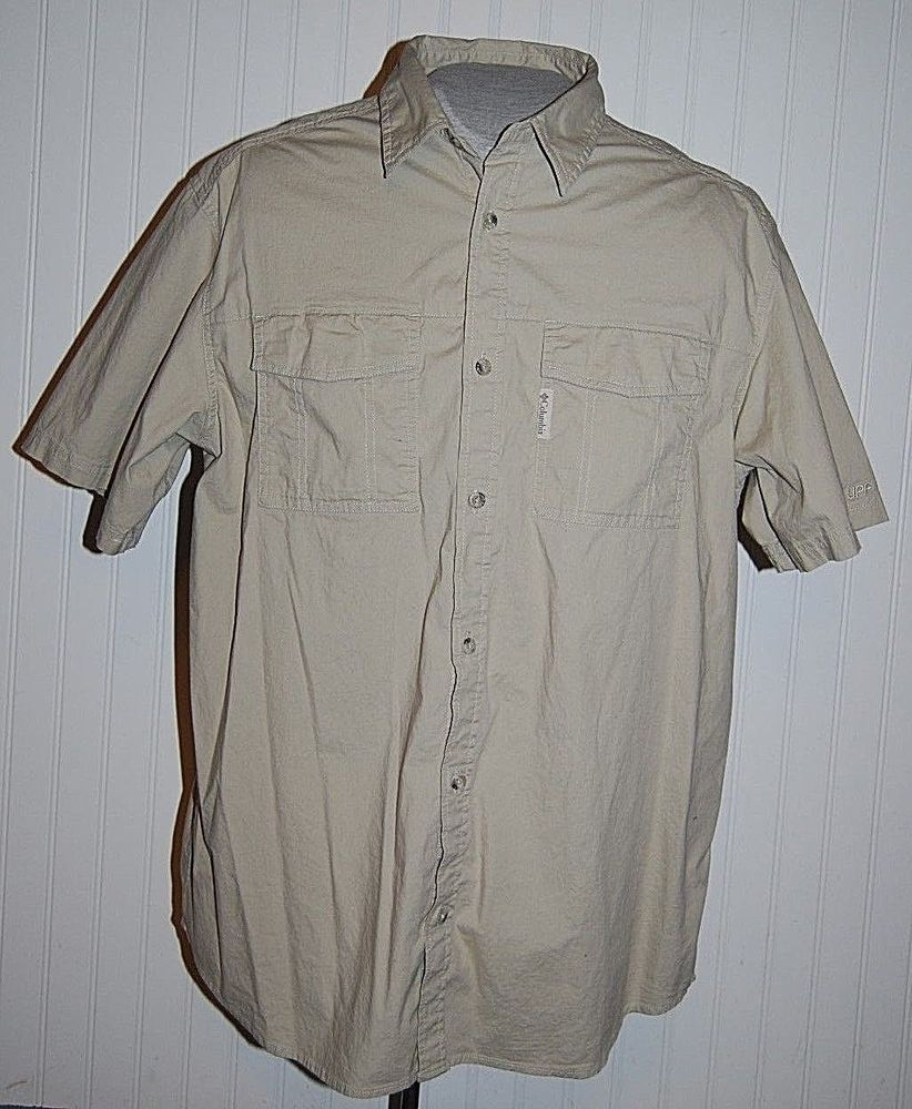 Columbia flannel jacket  Columbia UPF Menus XL Tan Button Front Short Sleeve Vented Shirt