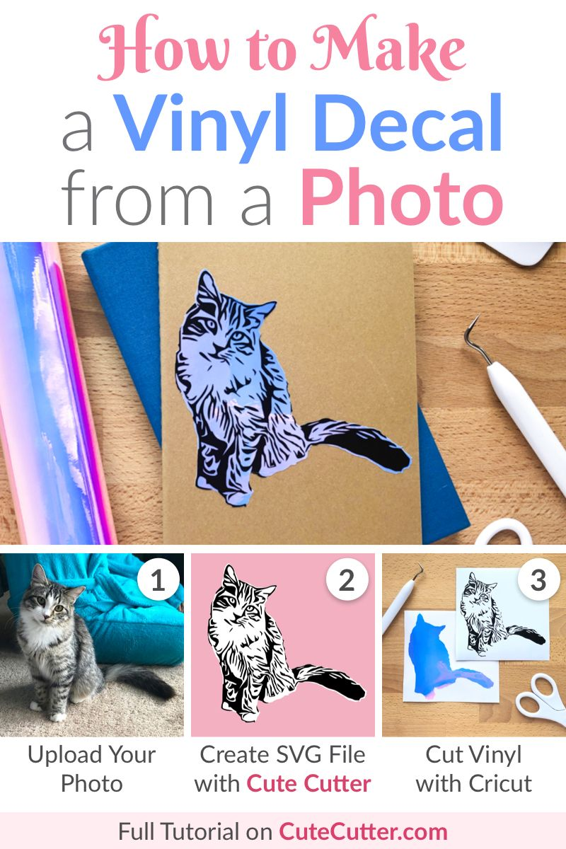 Make a Vinyl Decal from a Photo on your Cricut #cricutvinylprojects