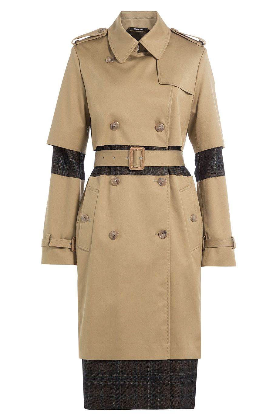MAISON MARGIELA Cotton Trench Coat With Plaid Panels. #maisonmargiela  #cloth #trenchcoat