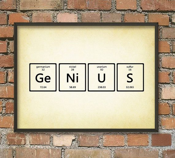 Genius Periodic Table Of Elements Wall Art Poster Chemistry Home Decor Scientific Graduate Student Gift Idea
