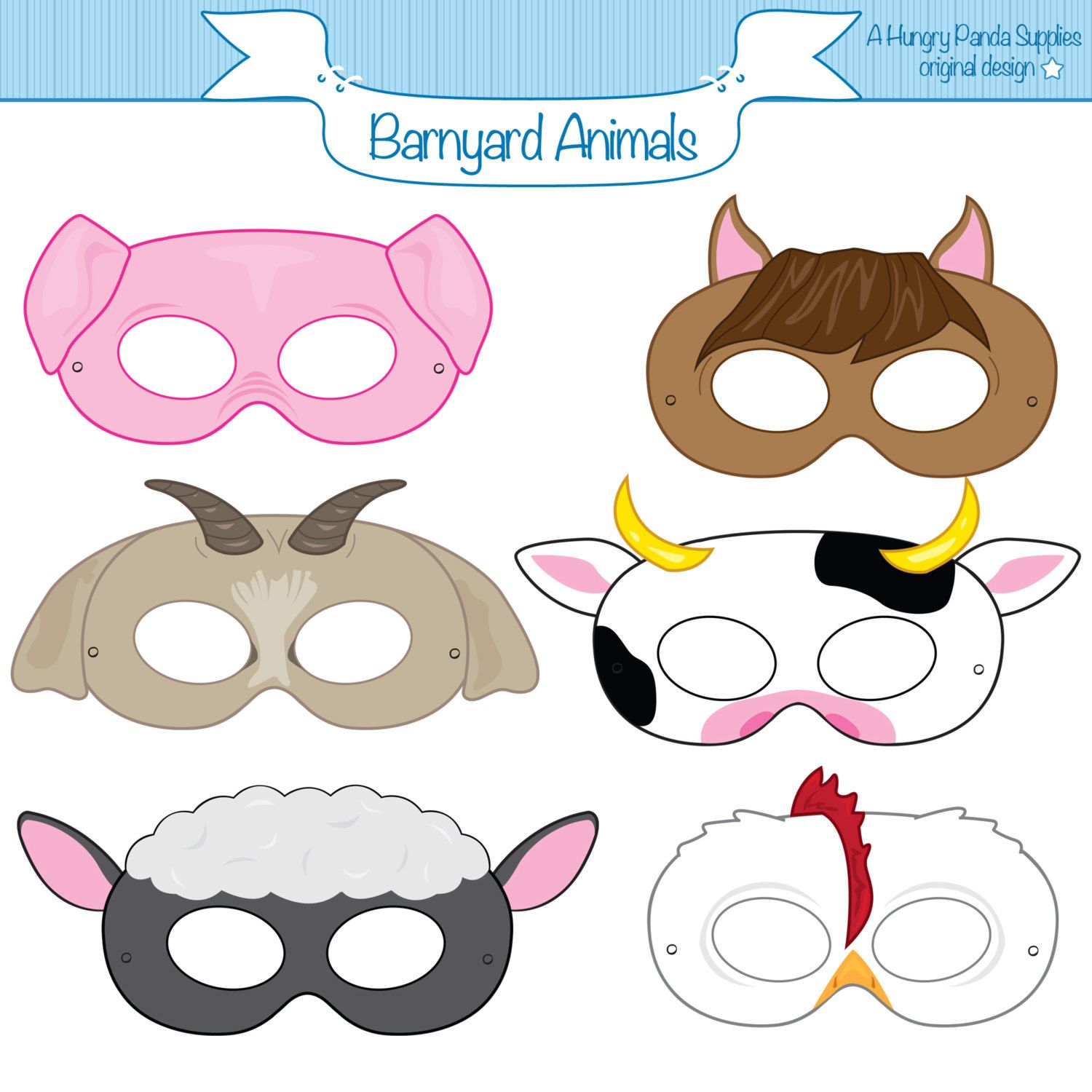 Barnyard Animals Printable Masks Printable Party Masks Farm Animal Mask Farm Animals Costume
