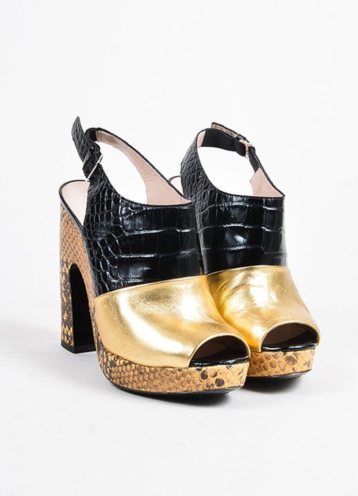 Dries Van Noten Gold and Black Leather Snake Croc Embossed