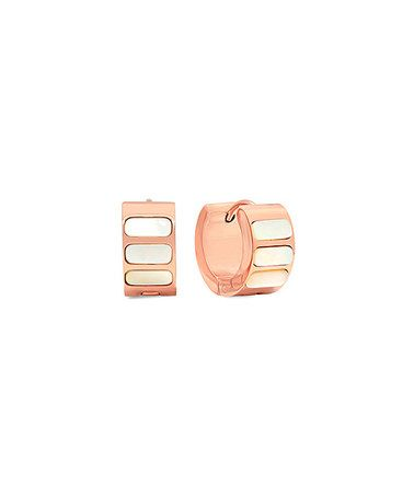 Look at this #zulilyfind! Mother-of-Pearl & Rose Gold Stripe Huggie Earrings #zulilyfinds