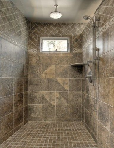 create design interest with the same color tiles, but varying sizes ...