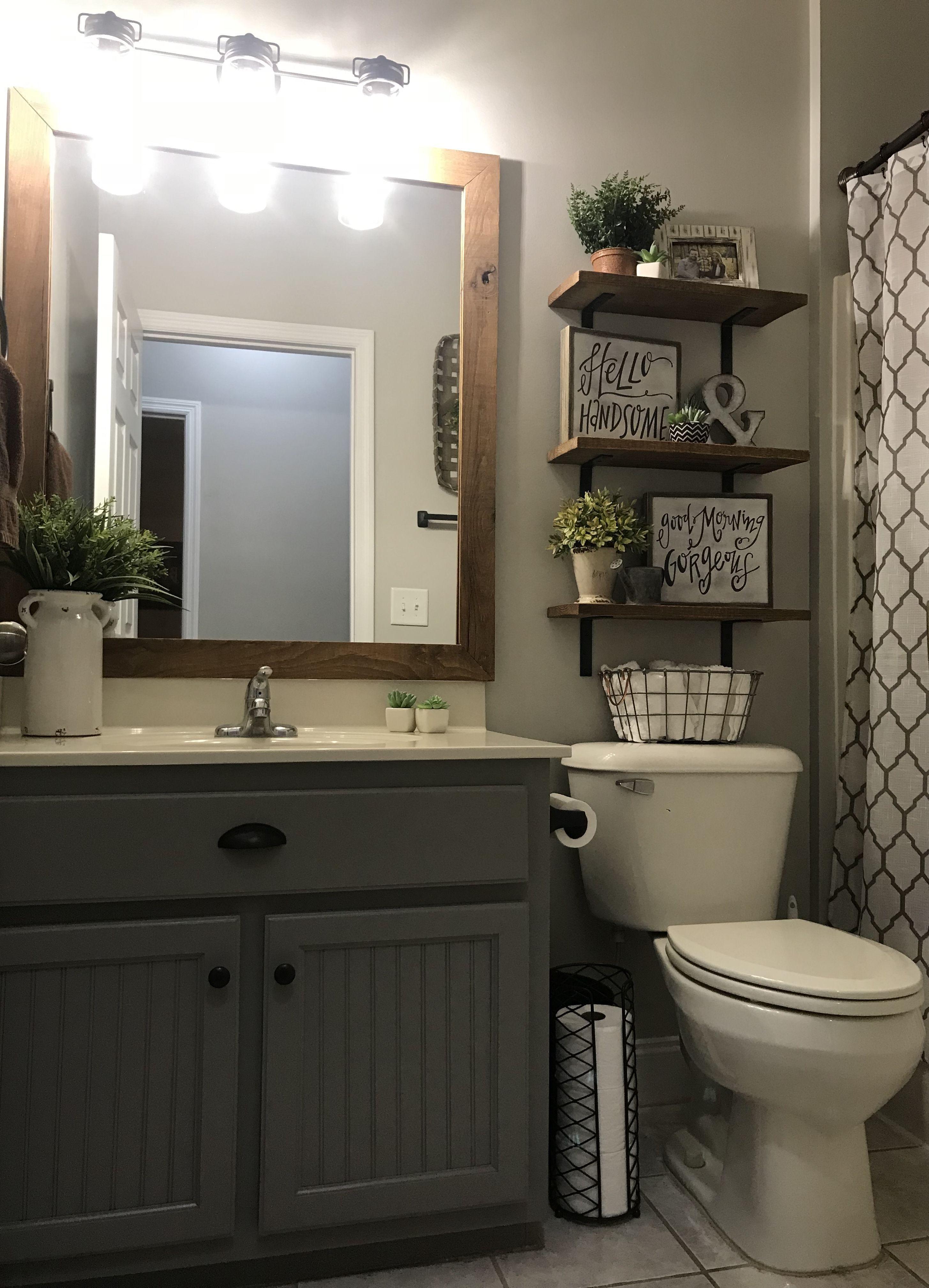 80 Clever Design Ideas For Small Bathrooms Small Bathroom Decor Guest Bathrooms Farmhouse Bathroom Decor