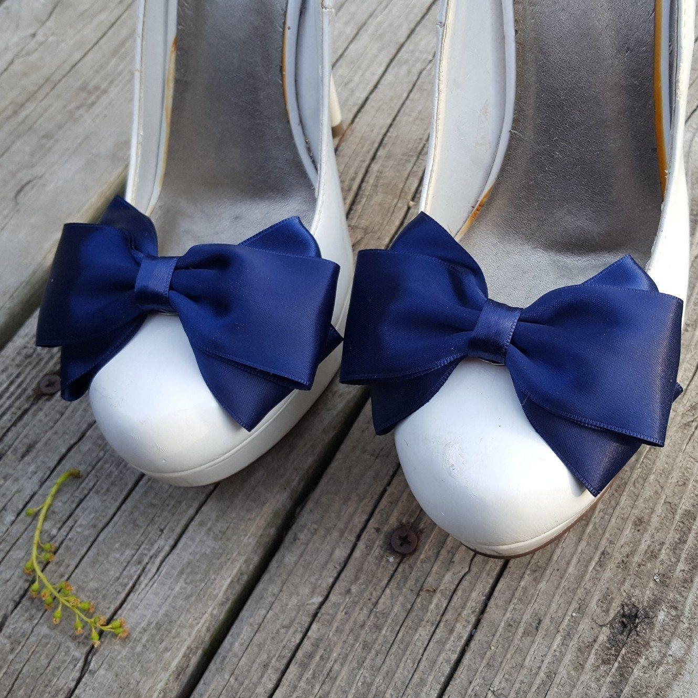 Navy blue shoe clips bridal shoe clips wedding shoe clips shoe