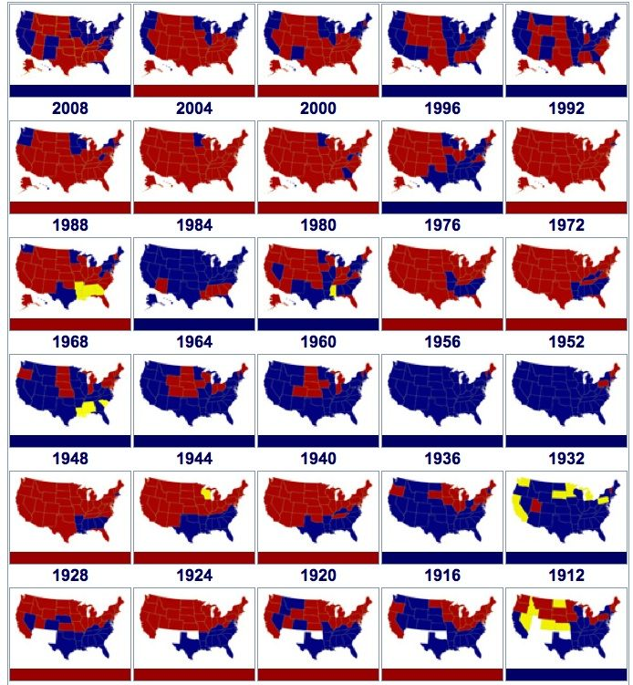 Us Electoral Historical Map 1912 2008