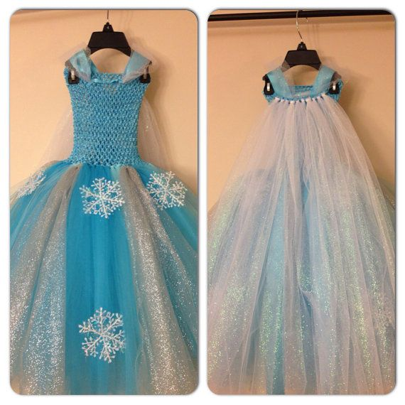 elsa dress with cape inspired from frozen movie and free. Black Bedroom Furniture Sets. Home Design Ideas