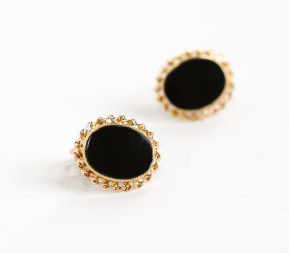 Vintage 10k Yellow Gold Black Onyx Earrings Retro