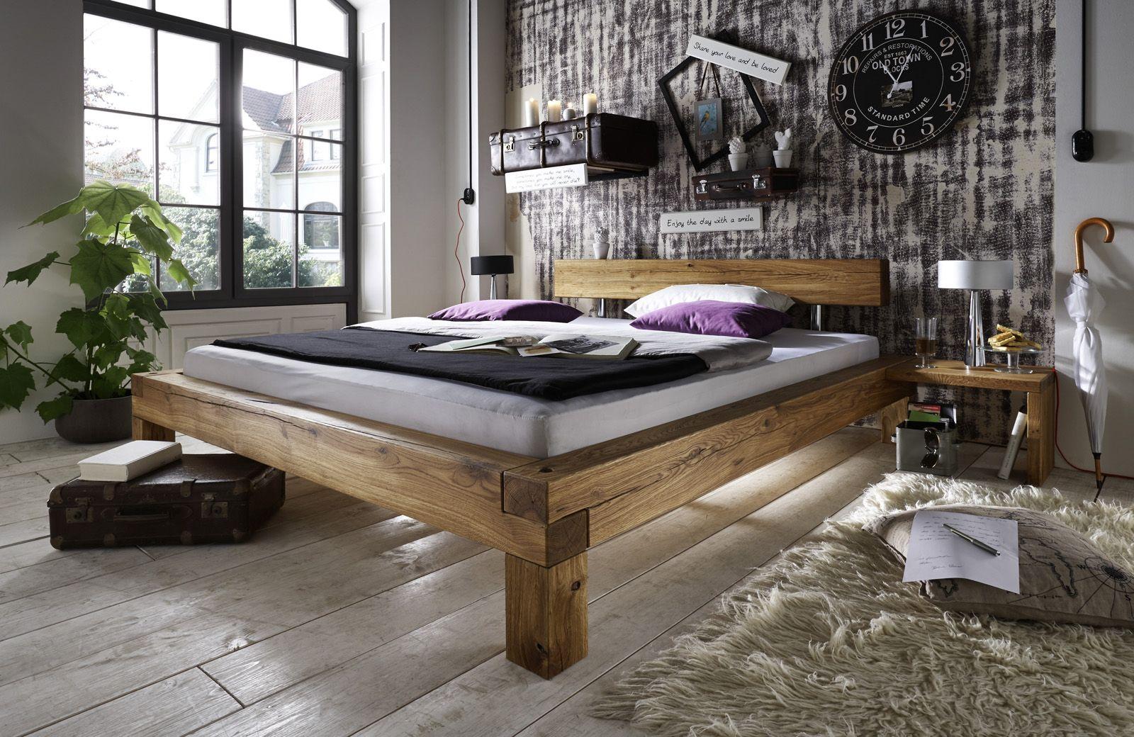 SAM® Balkenbett Ludo Massiv Holzbett Wildeiche 160 x 200