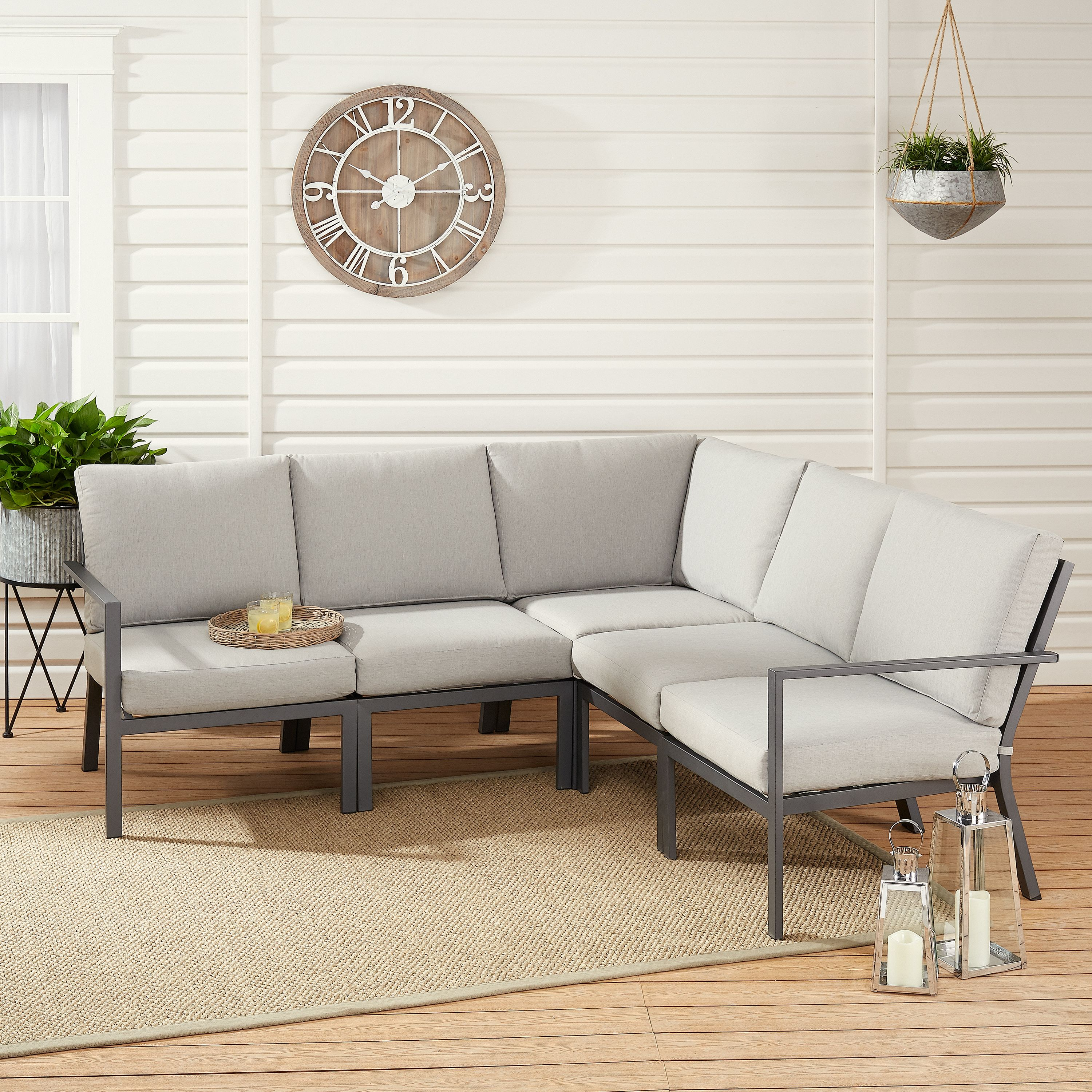 Fine Mainstays Neste Ridge 5 Piece Patio Sectional Set With Gray Pabps2019 Chair Design Images Pabps2019Com