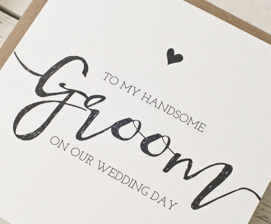 to my handsome groom on our wedding day card peach wolfe paper co