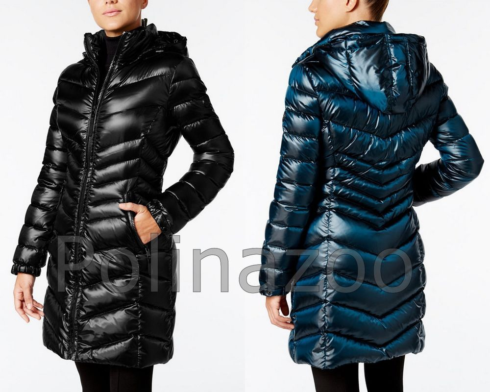 Calvin Klein Winter Jacket Hooded Down Puffer Coat Pearlized Black Navy New 2017 Calvinklein Puffer Outdoor Winter Jackets Down Puffer Coat Puffer Coat [ 800 x 1000 Pixel ]