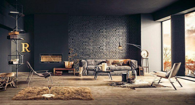 Salon style industriel design avec parement en brique noire et plancher massif avec tapis