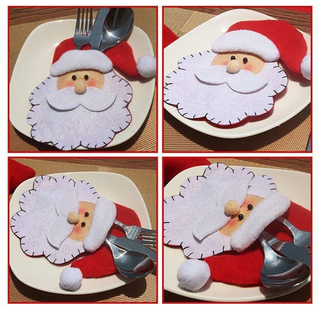 Weihnachtsmann Weihnachten Deko Bestecktasche Besteckbeutel