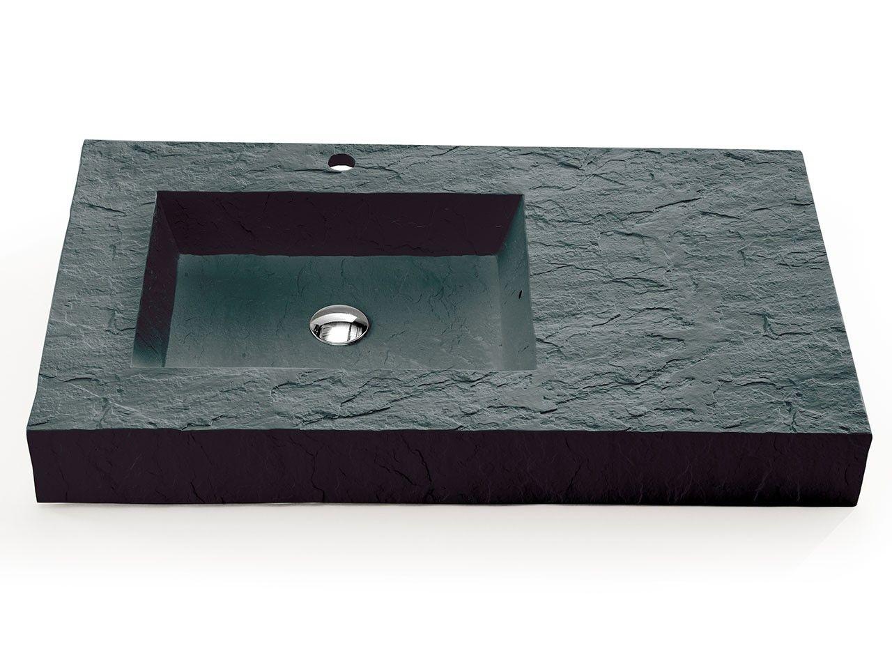 Lavabo top slate 90 resina grigio carnic iperceramica - Lavabo bagno resina ...